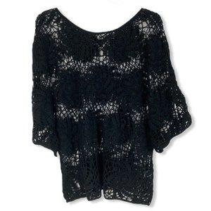 Women's black crochet beach cover up plus size 1X